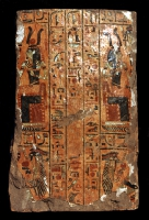 Sarkophag-Teil aus Holz mit Stucküberzug und farbiger Bemalung,  18. Dynastie, 1555 - 1320 v.Chr.