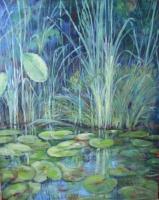 Thea Hackhausen; In der Flora (Seerosenteich mit Schilf), Acryl