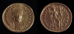Goldmünze, 1 Solidus, Arcadius 383-408 n. Chr., Konstantinopel, Ostrom